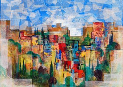 04 - Mediterrane Architekturen - Acryl, Collage auf Leinwand - 80 x 100