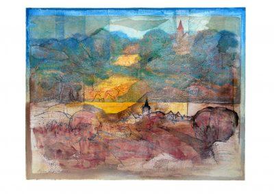 07 - Saaletal bei Kahla - Flußlandschaft - Mischtechnik auf Papier - Bildmaß 46 x 45 cm - Papiermaß 58 x 70 cm