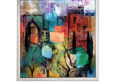09 - Fröhliche Farbklänge zur Provena - Mischtechnik auf Papier - Bildmaß 35 x 35 cm - Papiermaß 50 x 50 cm