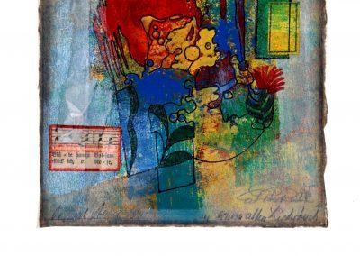 14 - Zu einem alten Liederbuch II - Mischtechnik auf Papier - Bildmaß 16 x 16 cm - Papiermaß 31 x 20 cm