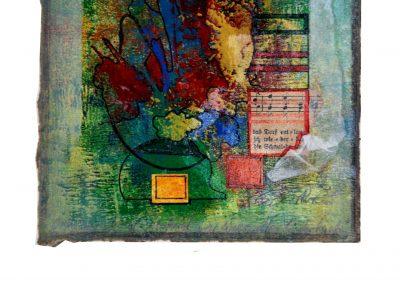 15 - Zu einem alten Liederbuch III - Mischtechnik auf Papier - Bildmaß 16 x 16 cm - Papiermaß 31 x 20 cm