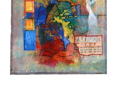 16 - Zu einem alten Liederbuch IV - Mischtechnik auf Papier - Bildmaß 16 x 16 cm - Papiermaß 31 x 20 cm
