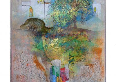 17 - In sommerlichen Gärten - Mischtechnik auf Papier - Bildmaß 44 x 40 cm - Papiermaß 59,5 x 48,5 cm