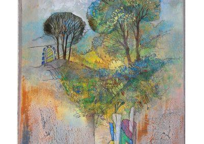 18 - In sommerlichen Gärten - Mischtechnik auf Papier - Bildmaß 44 x 40 cm - Papiermaß 60 x 50 cm