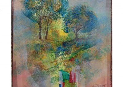 20 - Kleine Farbsinfonie zum Mai - Mischtechnik auf Papier - Bildmaß 46 x 39,5 cm - Papiermaß 59,5 x 44 cm