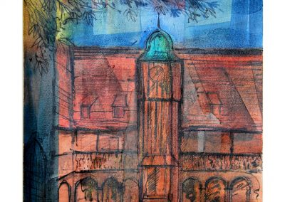 23 - Klosterhof Erfurt - Mischtechnik auf Papier - Bildmaß 43 x 33 - Papiermaß 50 x 46 cm