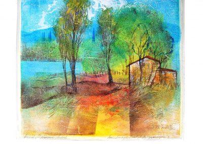 26 - Unikatmappe - Landschaftsbewegungen I - Acryl und Tempera auf Papier - 40 x 40 cm