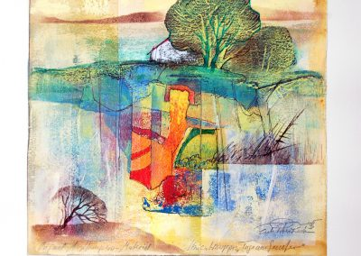 27 - Unikatmappe - Tage am Seeufer - Acryl und Tempera auf Papier - 33 x 31 cm