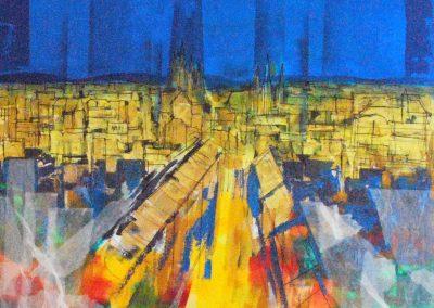 33 - Erfurt - Acryl, Collage auf Leinwand - 90 x 100 cm