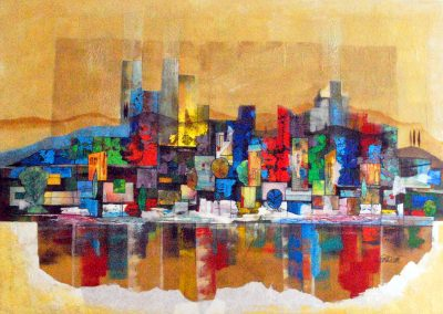 40 - Farbklaenge Hochizontal - Acryl auf Leinwand - 100 x 140 cm
