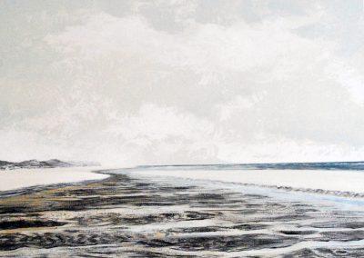 Bilder vom Meer V5 (Strand grau) - Acryl auf Leinwand - 80 x 100 cm