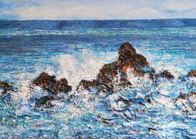 Felsen im Meer - Acryl auf Leinwand - 50 x 115 cm
