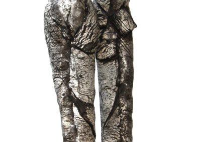 Paar, braunes steinzeug nit Porzellan, H 50 cm