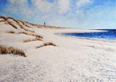 Strand mit Leuchtturm - Acryl auf Leinwand - 80 x 100 cm