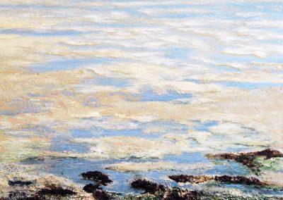 Untiefen Braungruen - Acryl auf Leinwand - 80 x 80 cm